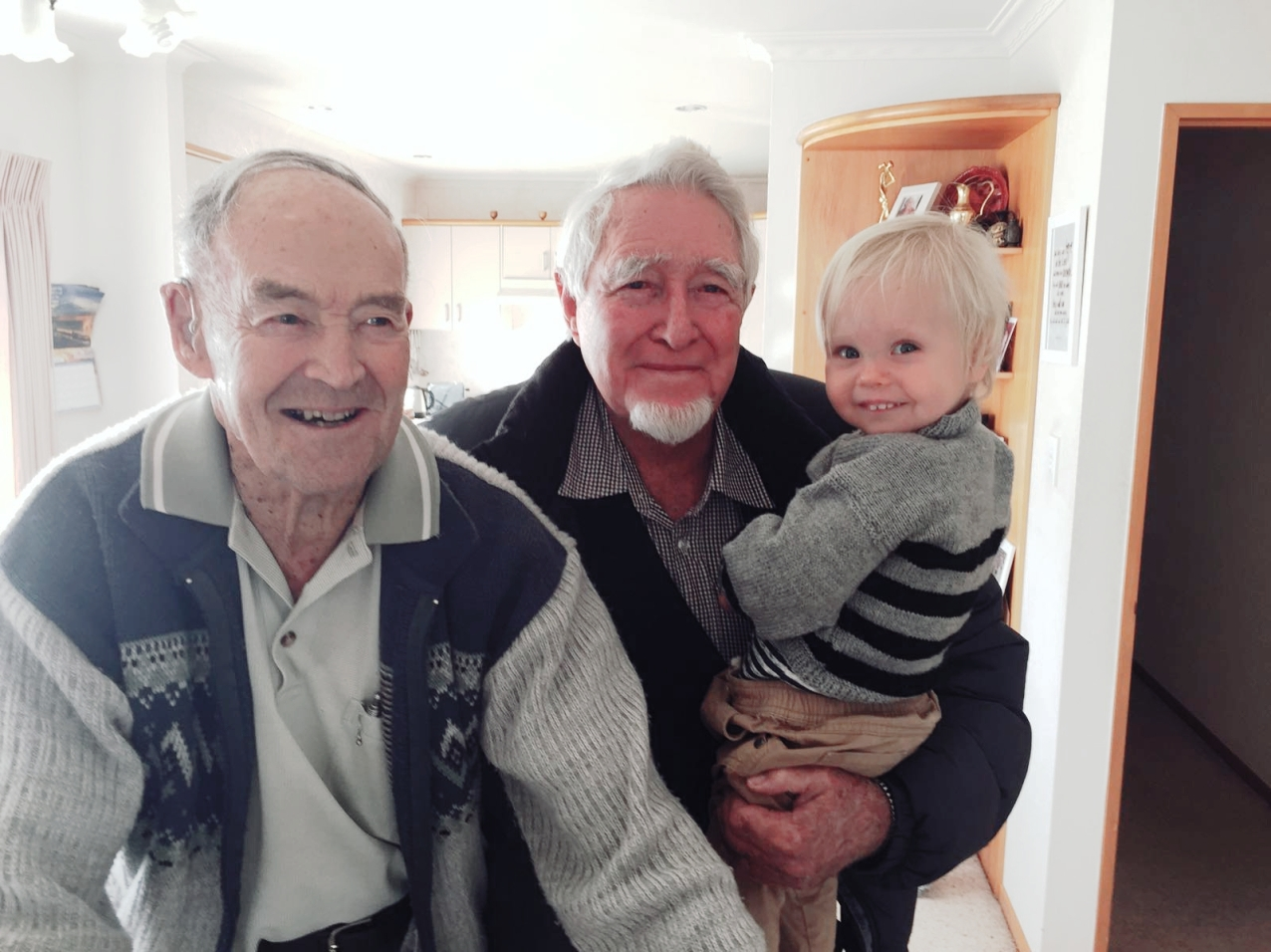 Kepler Jacob Roy with his great-grandfathers, Roy Suisted and Jacob Jackson.